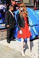 emma stone letterman arrival depart two dresses 03