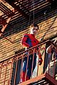 tom holland performs his own spider man stunts on nyc fire escape 10