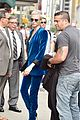 cara delevingne wears blue suede suit for late show with stephen colbert 08
