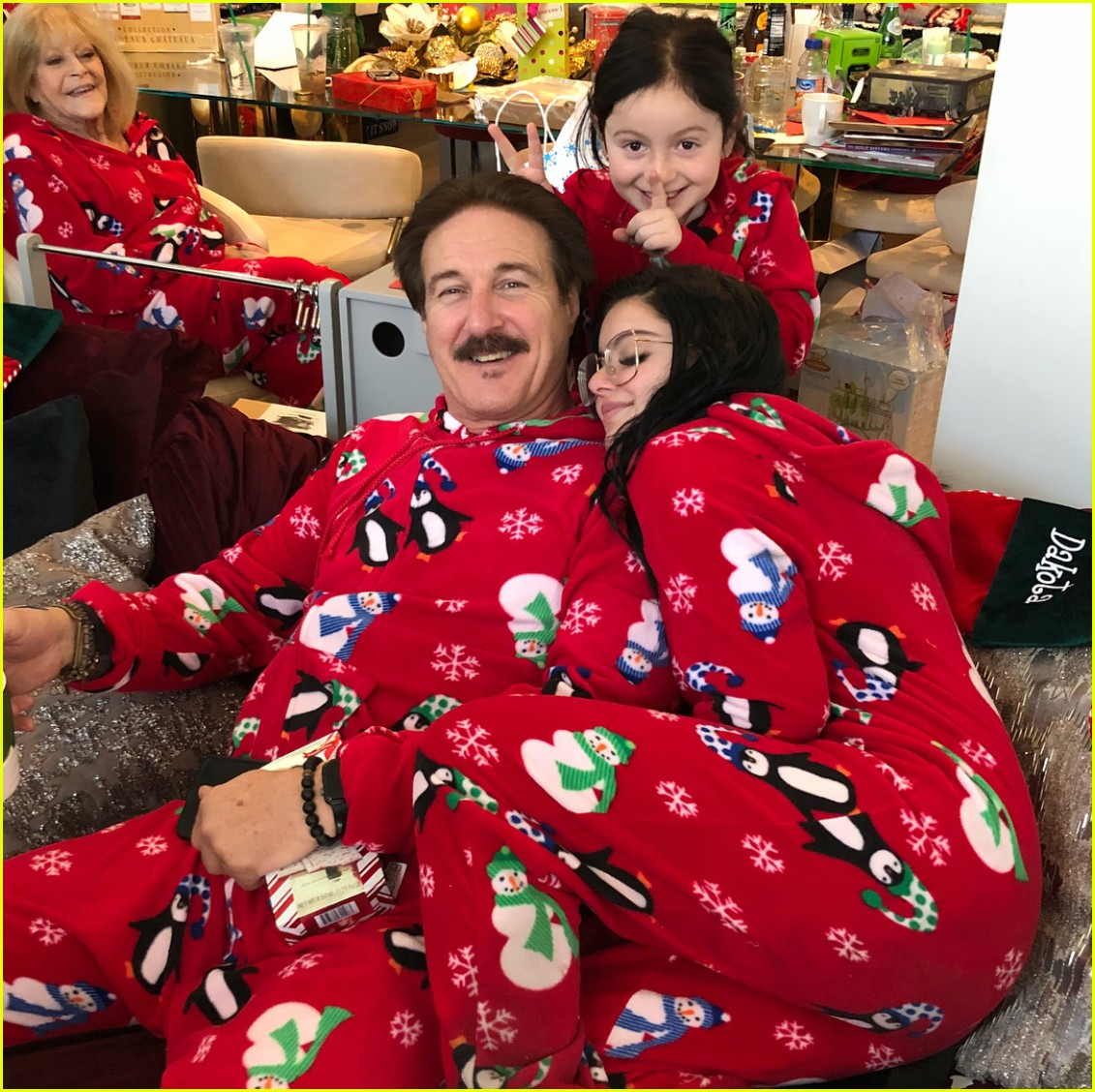 Ariel Winter & Levi Meaden Wear Matching Pajamas on Christmas ...