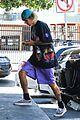 justin bieber poses with two dogs in a stroller before soccer game05