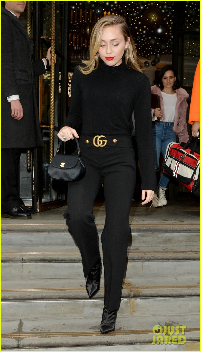 miley cyrus keeps it classy in all black outfit while out in london 02