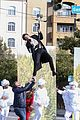 harry styles zip lines over la street for late late show segment 23