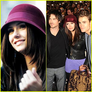Nina Dobrev: Berry Bowler Hat Beauty