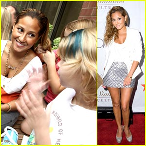 Adrienne Bailon Hula Hoops at Ronald McDonald House