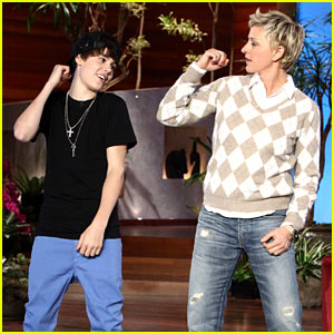 Justin Bieber Fist Pumps with Ellen DeGeneres