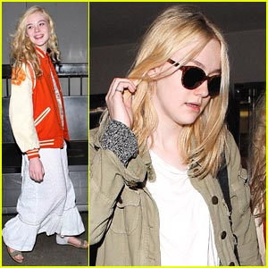 Dakota & Elle Fanning Make a LAX Landing