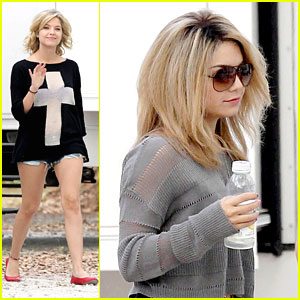 Ashley Benson: Sheer on 'Spring Breakers' Set with Vanessa Hu