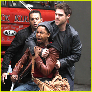 Grey Damon &#038; Brandon T. Jackson: 'Percy Jackson' Fight Scene!