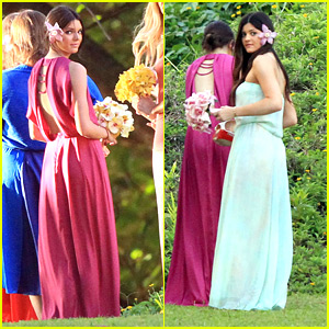 York Dress on Kendall And Kylie Jenner Doll Up In Colorful Maxi Dresses At A Family