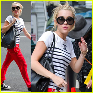 Miley Cyrus: Red Pants on 'Paranoia' Set!