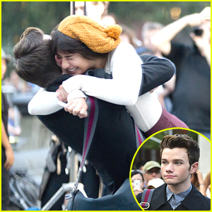 Lea Michele: 'Glee' Hug for Chris Colfer
