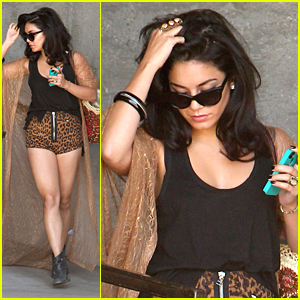 Vanessa Hudgens: Leopard Shorts at the Studio
