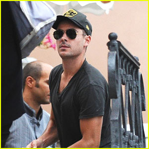 Zac Efron Takes A Water Taxi in Venice