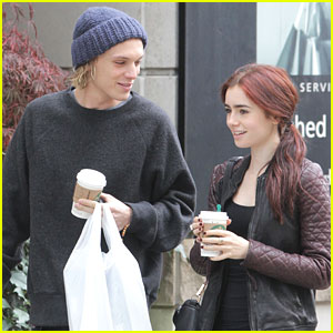 Lily Collins &#038; Jamie Campbell Bower: Saturday Starbucks Stop