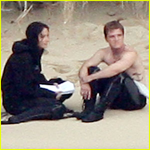 Josh Hutcherson: Shirtless in the Sand with Jennifer Lawrence