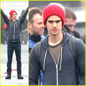 Andrew Garfield: Red Beanie on 'Spider-Man 2' Set