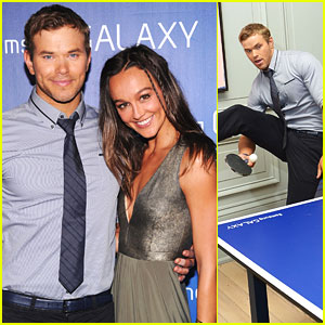 Kellan Lutz: Samsung Super Bowl Party with Sharni Vinson