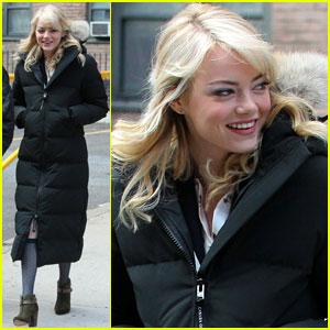 Emma Stone: Bundled Up on 'Spider-Man 2' Set!