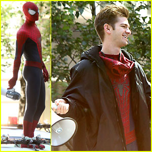 Andrew Garfield Stands on Cop Car for 'Spider-Man 2'