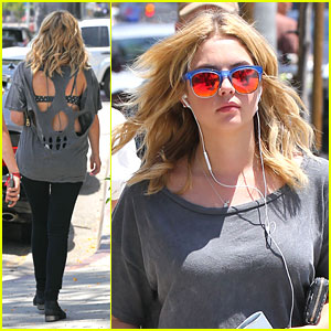 Ashley Benson: Shredded Back Tee at Urth Caffe