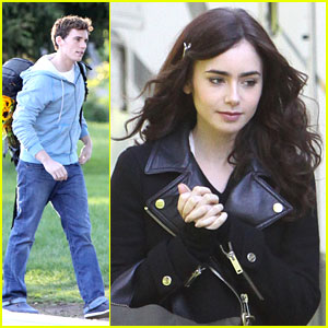 Lily Collins & Sam Claflin: 'Love, Rosie' Set