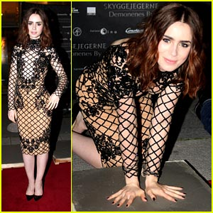 Lily Collins: 'Mortal Instruments' Hand Print Ceremony in Norway!