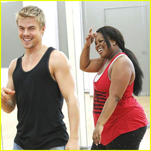 Amber Riley & Derek Hough: DWTS Practice Pics!