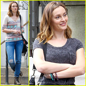 Leighton Meester: Gloomy NYC Filming