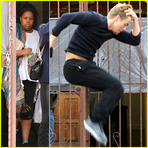 Amber Riley & Derek Hough: Rehearsing for 'DWTS' Two-Part Finale
