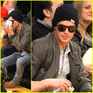 Zac Efron: Instant Camera at Lakers Game