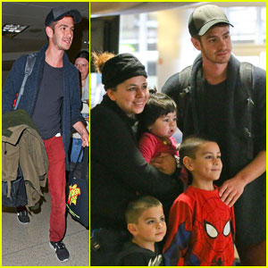Andrew Garfield Runs into Spider-Man Fan at LAX!