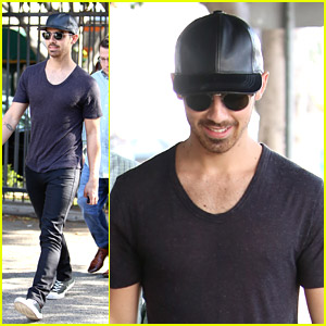 Joe Jonas: Leather Ball Cap After Hair Appointment