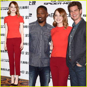 Andrew Garfield & Emma Stone Hit Beijing For 'Spider-Man 2' Photo Call!