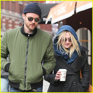 Dakota Fanning Strolls With Jamie Strachan Before Gerardo Naranjo Filming Starts