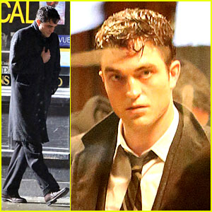 Robert Pattinson Gets Drenched on Rainy 'Life' Set