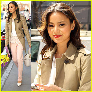 Jamie Chung Stops To Smell The Flowers in NYC