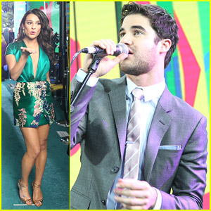 Lea Michele Joins Darren Criss & Chord Overstreet at Fox FanFront Presentation 2014!