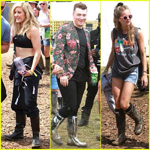 Ellie Goulding & Sam Smith Enjoy Glastonbury Festival with Cressida Bonas