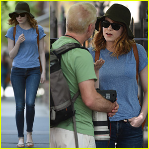 Emma Stone Calls Out Paparazzo in West Village