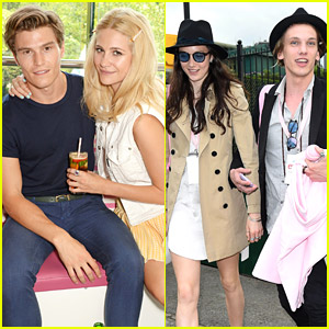 Pixie Lott & Jamie Campbell Bower Lounge with Evian during Wimbledon Opening Day