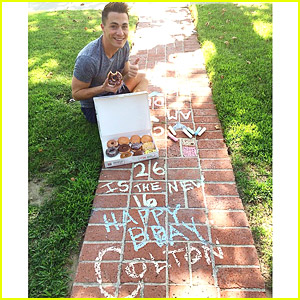 Colton Haynes Celebrates 26th By Drawing with Chalk & Eating Donuts - Awesome.