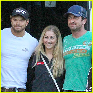 Kellan Lutz & Gerard Butler Pose with Lucky Fan After World Cup Finals