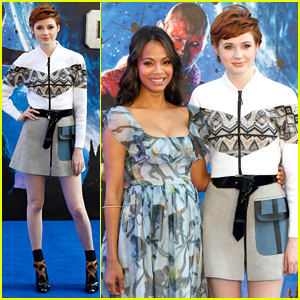 Karen Gillan Poses with Pregnant Zoe Saldana at 'Guardians of the Galaxy' London Premiere