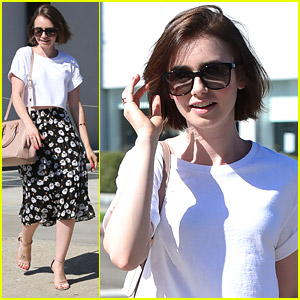 Lily Collins Makes A Hair Salon Stop Before Long Holiday Weekend