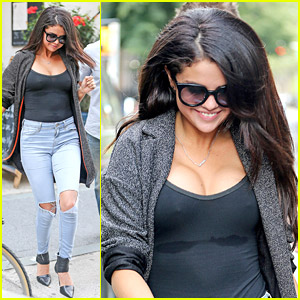Selena Gomez Flaunts Cleavage in Super Tight Tank