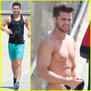 Spencer Boldman Sports Major Scruff for Shirtless Santa Monica Run