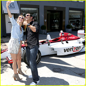Julianne Hough Reunites With Former DWTS Partner Helio Castroneves For Coffee & Selfies - See The Cute Pics!