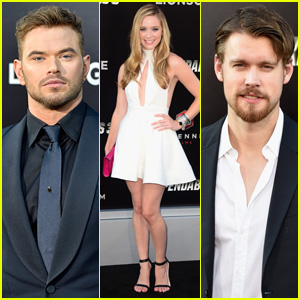 Kellan Lutz & Chord Overstreet Both Sport Navy Blue at 'Expendables 3' Hollywood Premiere