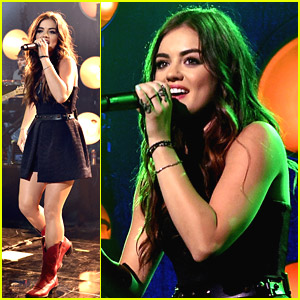 Lucy Hale Gets Green Hair From The Lights During iHeartRadio Concert & It's Kind of Awesome